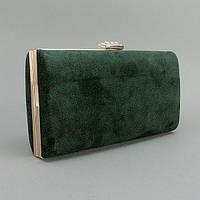 Клатч-бокс сумочка замшевая женская зеленая