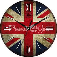 Настенные часы Vintage 'Флаг Лондона' 330Х330Х16мм (в часах нет секундной стрелки)