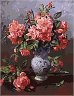 Картина по номерам на холсте Menglei Розы в китайской вазе