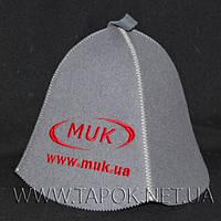 Банная шапка с нанесением логотипа вышивкой