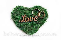 """Подушечка для колец """"Love"""" декорированная натуральными материалами. Коллекция """"EKO-Love"""""""