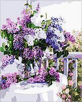 Картина по номерам на холсте Идейка Сирень в стеклянной вазе KH1074