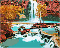Картина раскраска по номерам на холсте MENGLEI Водопад