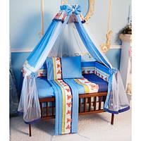 Cпальный комплект в детскую кроватку с защитой и балдахином 60х120 Маугли хлопок ТМ Медисон Украина