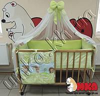 Постельное белье в кроватку детскую Премиум Класса салатовый Лесные звери +держатель для балдахина в подарок!
