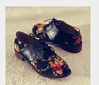 Модные туфли цветочный принт в расцветке