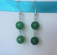 Серьги из натуральных камней зеленого Нефрита  BD1606