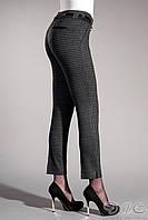 """Очень стильные женские брюки """"Эмели"""".Трикотаж ,клетка серая+бордо."""