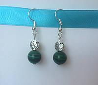 Серьги зелёные из натуральных камней малахита BD1602