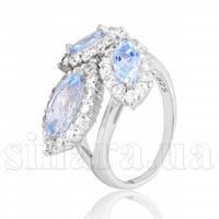 Серебряное кольцо с голубым топазом 10295