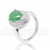 Серебряное кольцо с зеленым агатом 29510