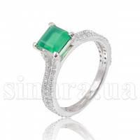 Серебряное кольцо с зеленым агатом 29528