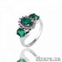Серебряное кольцо с зеленым агатом 30841