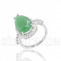 Серебряное кольцо с зеленым агатом 28328