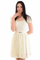 Дизайнерское Кружевное платье с юбкой клеш