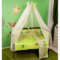 Cпальный комплект в детскую кроватку с защитой и балдахином 60х120 Евро хлопок Украина