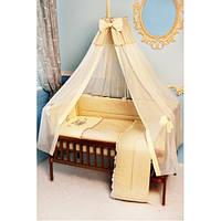Cпальный комплект в детскую кроватку с защитой и балдахином 60х120 Мишка на луне хлопок ТМ Медисон Украина