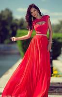 """Длинное шифоновое платье с юбкой солнце-клеш и вырезом """"сердце"""" на груди"""