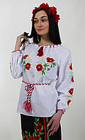 Оригинальная женская вышиванка из белого хлопка.