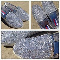 Балетки-туфли в пайетках серебро