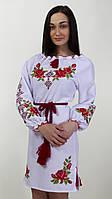 Платье вышитое женское на белом габардине с длинным рукавом