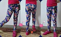"""Детские стильные синие брючки для девочек """"Цветы"""". Арт-1527"""