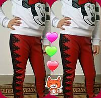 Детские шикарные супер-модные красные лосины эко кожа+кружево. Арт-1524