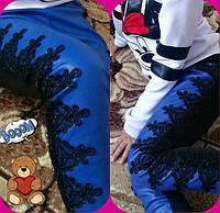 Детские шикарные супер-модные синие лосины эко кожа+кружево. Арт-1524