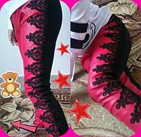 Детские шикарные супер-модные розовые лосины эко кожа+кружево. Арт-1524