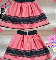 Детская стильная супер-модная красная юбка из эко кожи+кружево. Арт-1525
