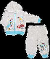 Детский спортивный костюм (теплый): кофта на молнии с капюшоном, штаны, начес, р.92,98 Турция