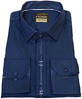 """Рубашка """"Fiome"""". Турция. Темно-синяя. Приталенная (длинный рукав)"""