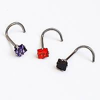 Ностриллы для пирсинга носа. Сталь 316L, горный хрусталь (фиолетовый, черный, оранжевый).