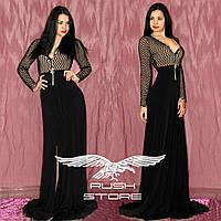 Вечернее платье в пол с вырезами и стразами