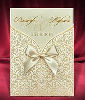 Пригласительные на свадьбу в золотисто-бежевых тонах с бантиком, свадебные приглашения, печать текста