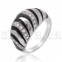 Серебряное кольцо с фианитом и эмалью 8967