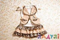 Детское платье для девочки леопардовое с украшением, 5-6 лет