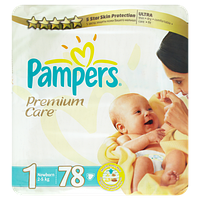Подгузники Pampers Premium Care Newborn 1 (2-5 кг) 78 шт. памперс премиум