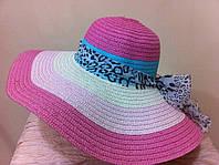 Шляпа женская в малиново- белую полоску