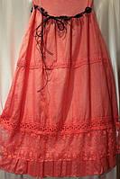 Женская юбка варёнка в кружевом  по кругу и подъюбником в расцветках