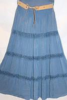 Батальная летняя юбка с гипюром разных расцветок