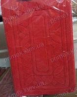 """Набор ковриков для ванной, 60х100 + 60х50см. """"Орнамент из листиков"""", цвет красный"""