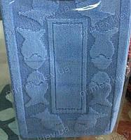 """Набор ковриков для ванной, 55х85 + 50х40см. """"Орнамент из рыбок"""", цвет голубой"""