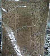 """Набор ковриков для ванной, 55х85 + 50х40см. """"Орнамент из треугольников"""", цвет коричневый"""