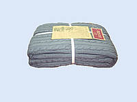 Шикарный трикотажный вязанный плед серо-голубого цвета.