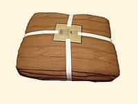 Шикарный шоколадный вязанный плед в широкую косичку.