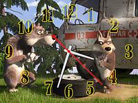Часы настенные B 79  Маша и Медведь, 30х40 для кухни, гостиной, детской, спальни. Подарок