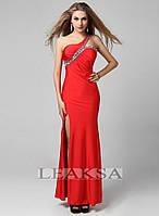 Красное платье Leaksa с глубоким вырезом и декорированное камнями LA80014