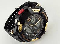 Часы мужские G-Shock seel ring, стальной золотистый безель, водонепроницаемые, таймер.