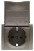 Лицевая панель розетка электрическая 2К+З с шторками и крышкой Темная Бронза Legrand Galea Life (771222)